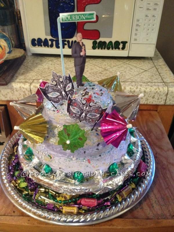 Mardi Gras Masquerade Party Birthday Cake