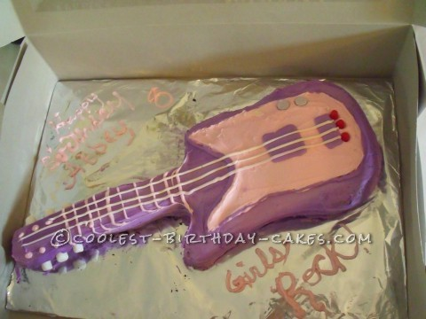 Rockstar Guitar Cake for a 8-Year Old Girl