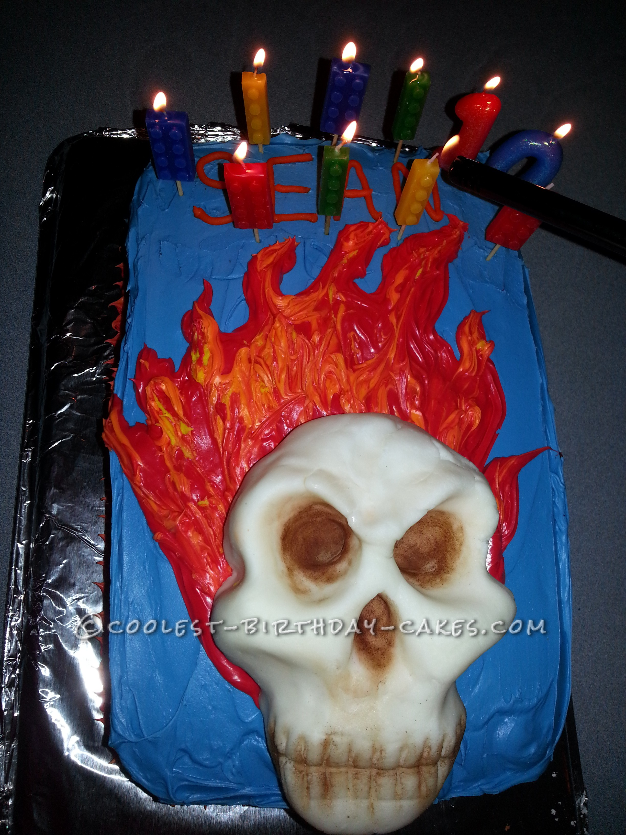 Super Cool Flaming Skull Cake For 10 Year Old Boy