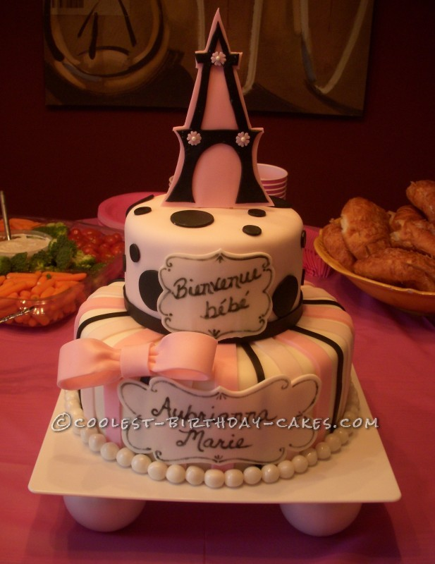 To Paris with Love Baby Shower Cake
