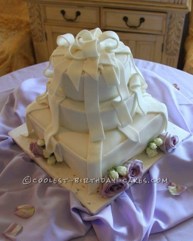 White Ribbon Cake