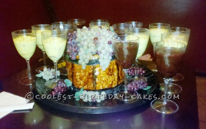 Wine Barrel Cake and Glasses Cupcakes