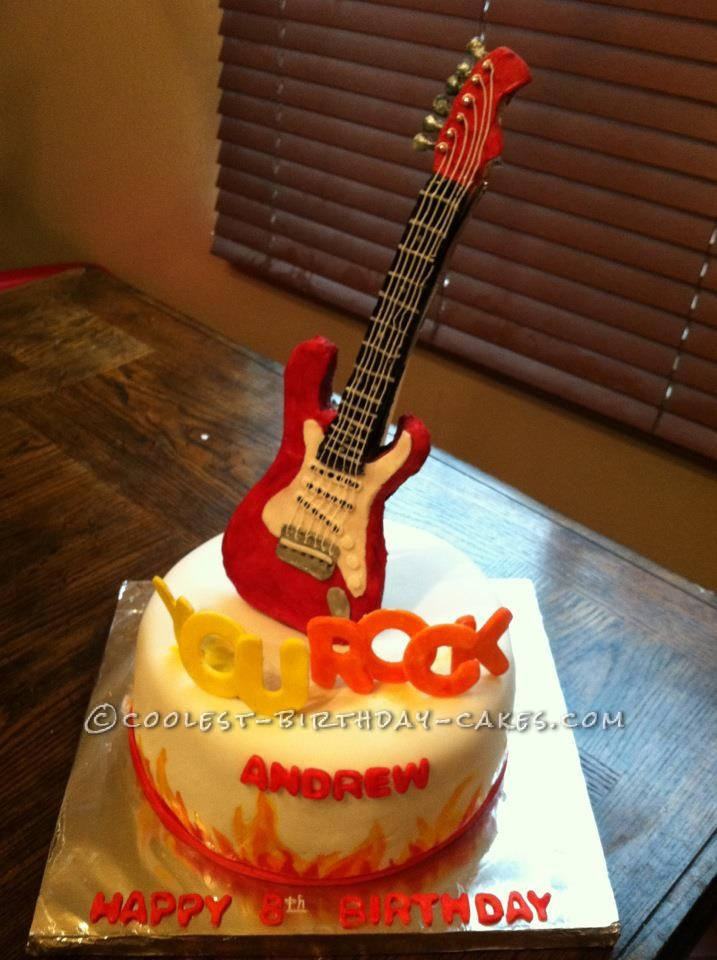 Coolest You Rock Guitar Cake For A 6 Year Old