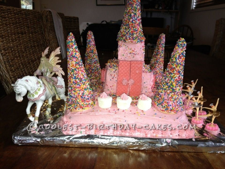 I Made This Castle Cake For My 5 Year Old Daughters Birthday And She Was So Surprised Said Shocked It Is Iced With Butter Cream The