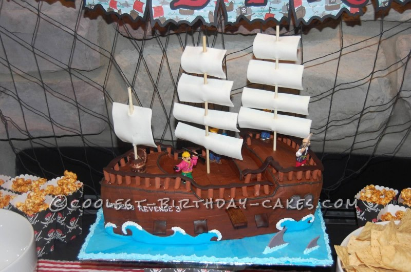 Awesome Coolest Pirate Ship Birthday Cake Birthday Cards Printable Riciscafe Filternl