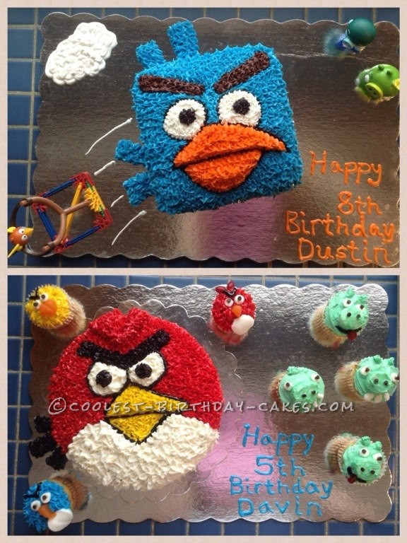 Angry Birds Cakes: Red Bird, Ice Bird and Cupcakes