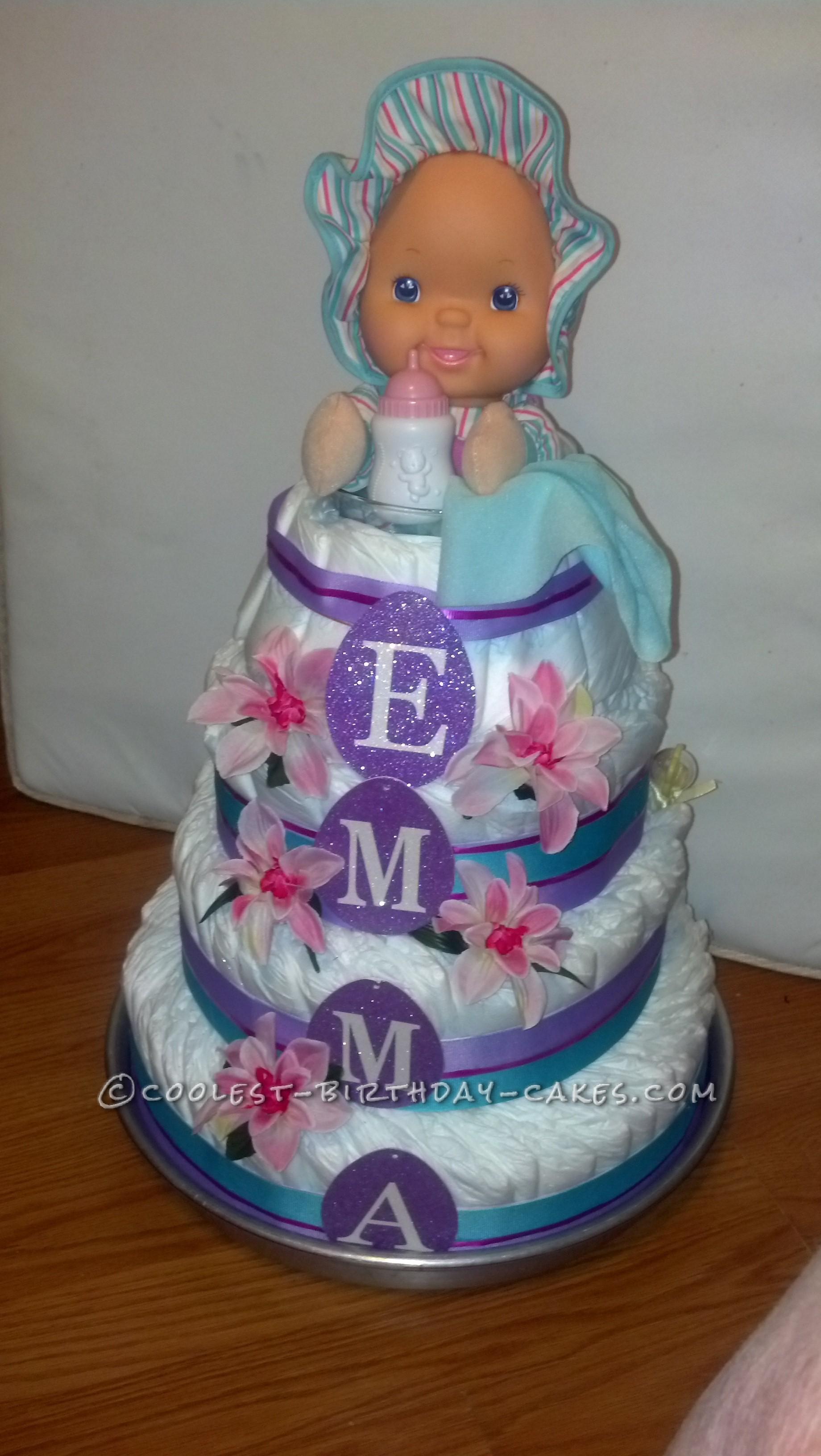 Baby Emma Diaper Cake