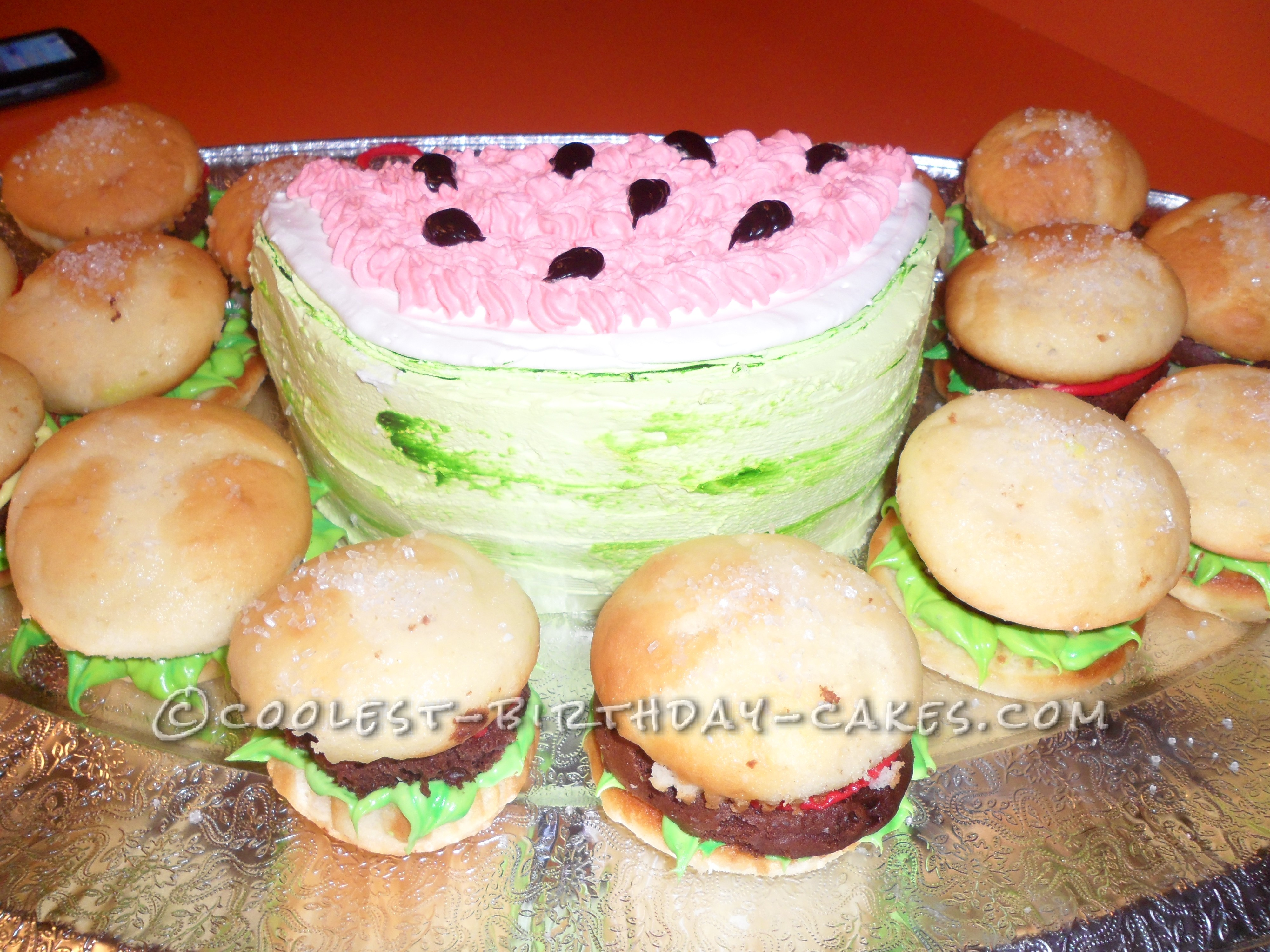 Burger Slider Cupcakes with Watermelon Cake
