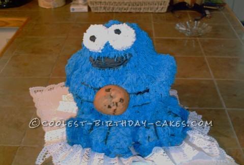 3D Cookie Monster Birthday Cake