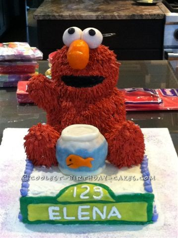 Completed Elmo with Dorothy fishbowl