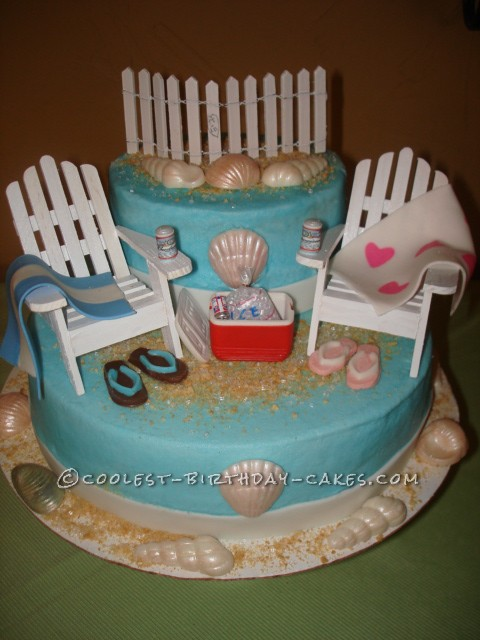 Surprising Coolest Homemade Beach Scene Cakes Funny Birthday Cards Online Unhofree Goldxyz