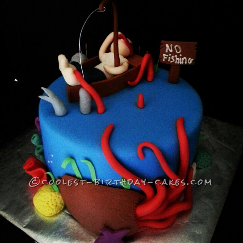 Awe Inspiring Coolest Fishing Nightmare Cake For Dad Funny Birthday Cards Online Bapapcheapnameinfo