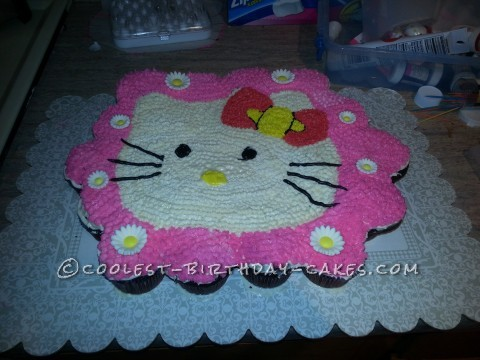Coolest Hello Kitty Cupcake Birthday Cake for my Awesome 5-Year Old