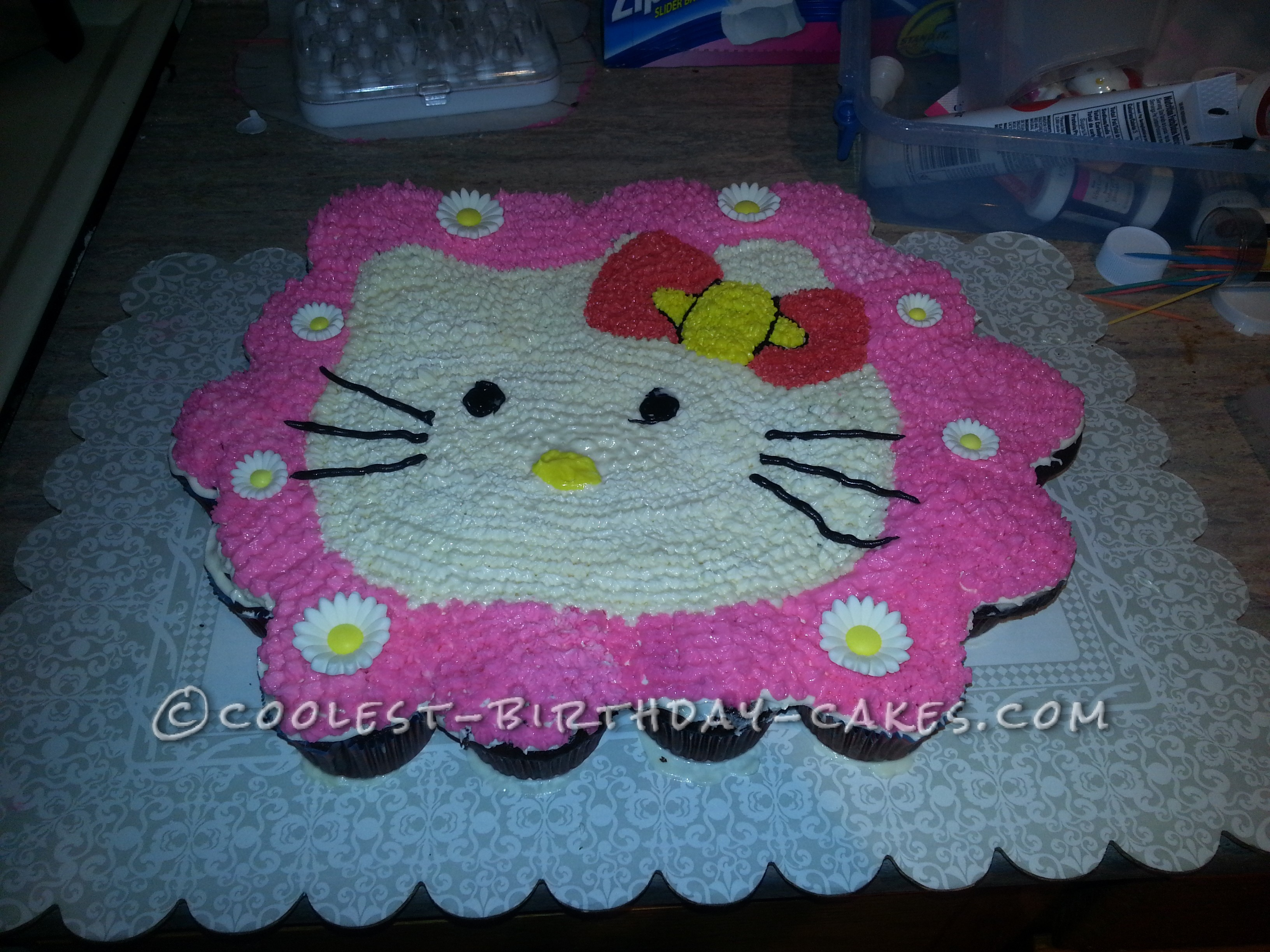 Coolest Hello Kitty Cupcake Cake for my Awesome 5-Year Old