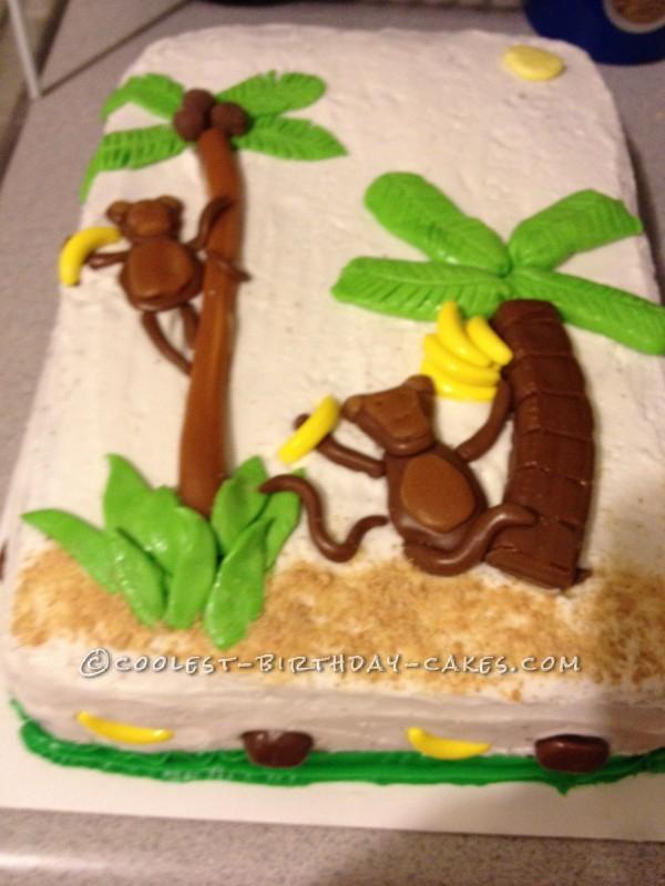 Luau Theme Cake with Monkey