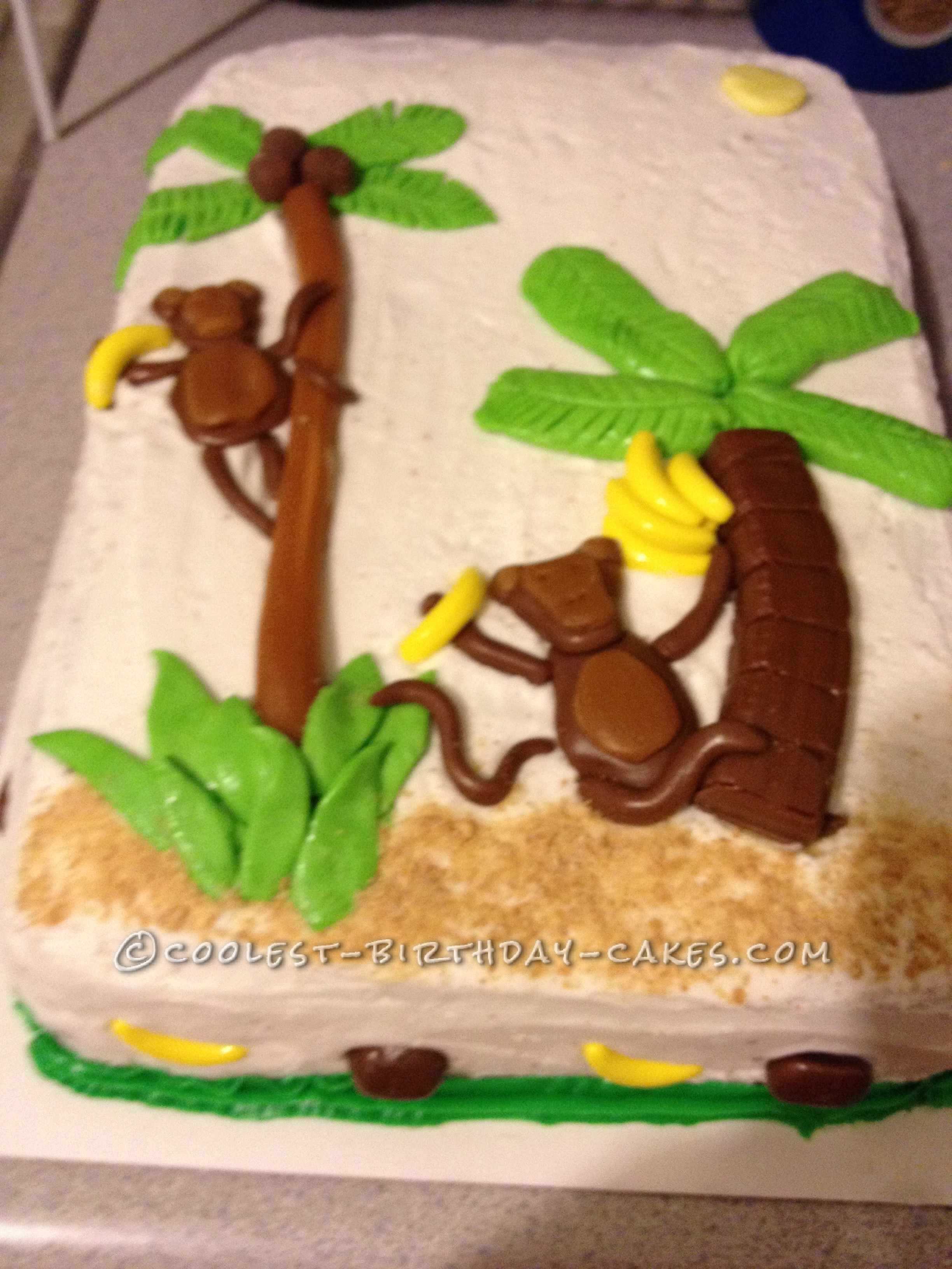 Luau Theme Cake with Monkey