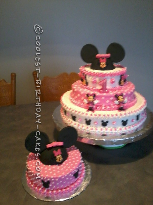 Enjoyable Coolest Minnie Mouse Cake For A 1St Birthday Funny Birthday Cards Online Unhofree Goldxyz