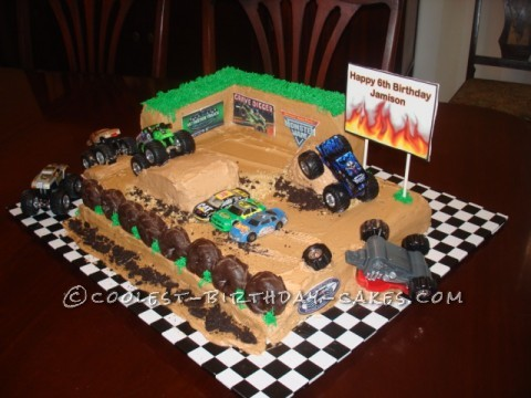 Coolest Monster Truck Rally Birthday Cake