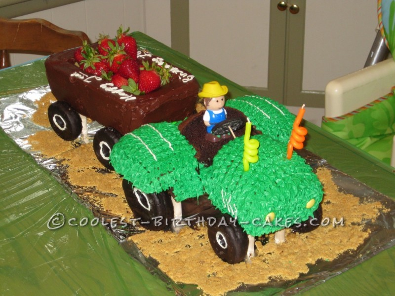 Coolest Homemade Carved Tractor Birthday Cake