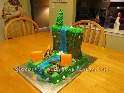 Coolest Waterfall Camping Cake