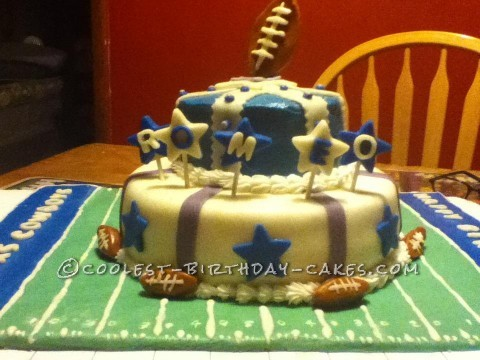 Dallas Cowboys Tiered Football Cake
