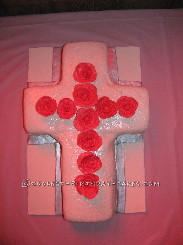 Cross with Roses Cake