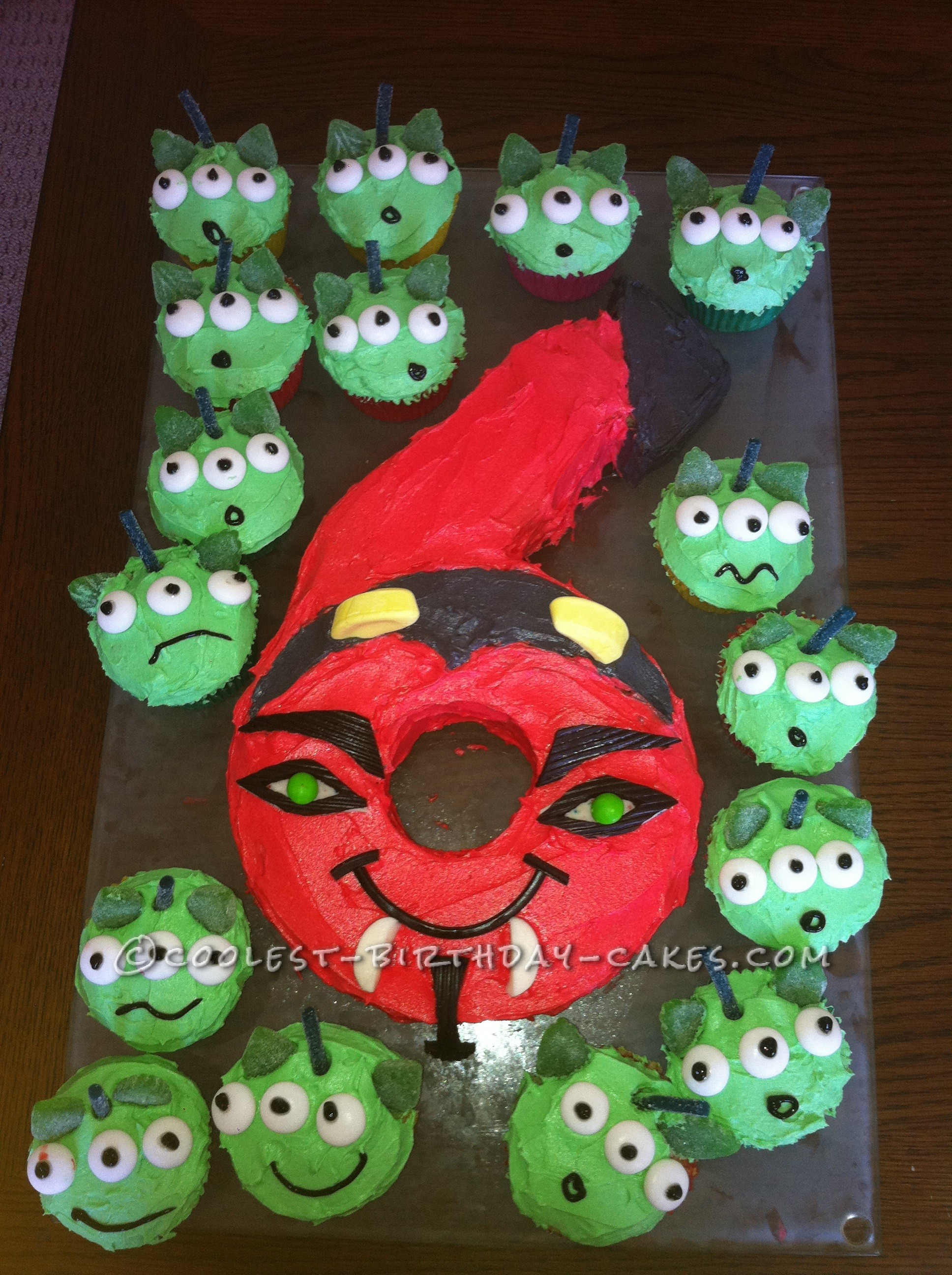 Awesome Devil Cake With Alien Cupcakes