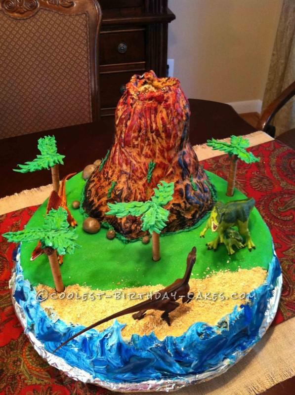 Pleasing Easy Erupting Volcano Birthday Cake Personalised Birthday Cards Veneteletsinfo