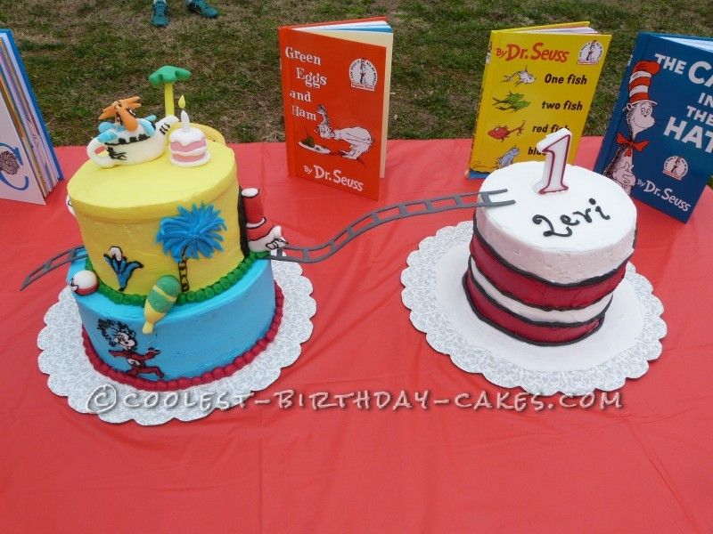 First Birthday Dr Seuss Hodge Podge Cake With Cat In The Hat Smash