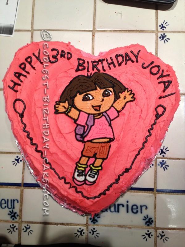 Heart-Shaped Dora Birthday Cake