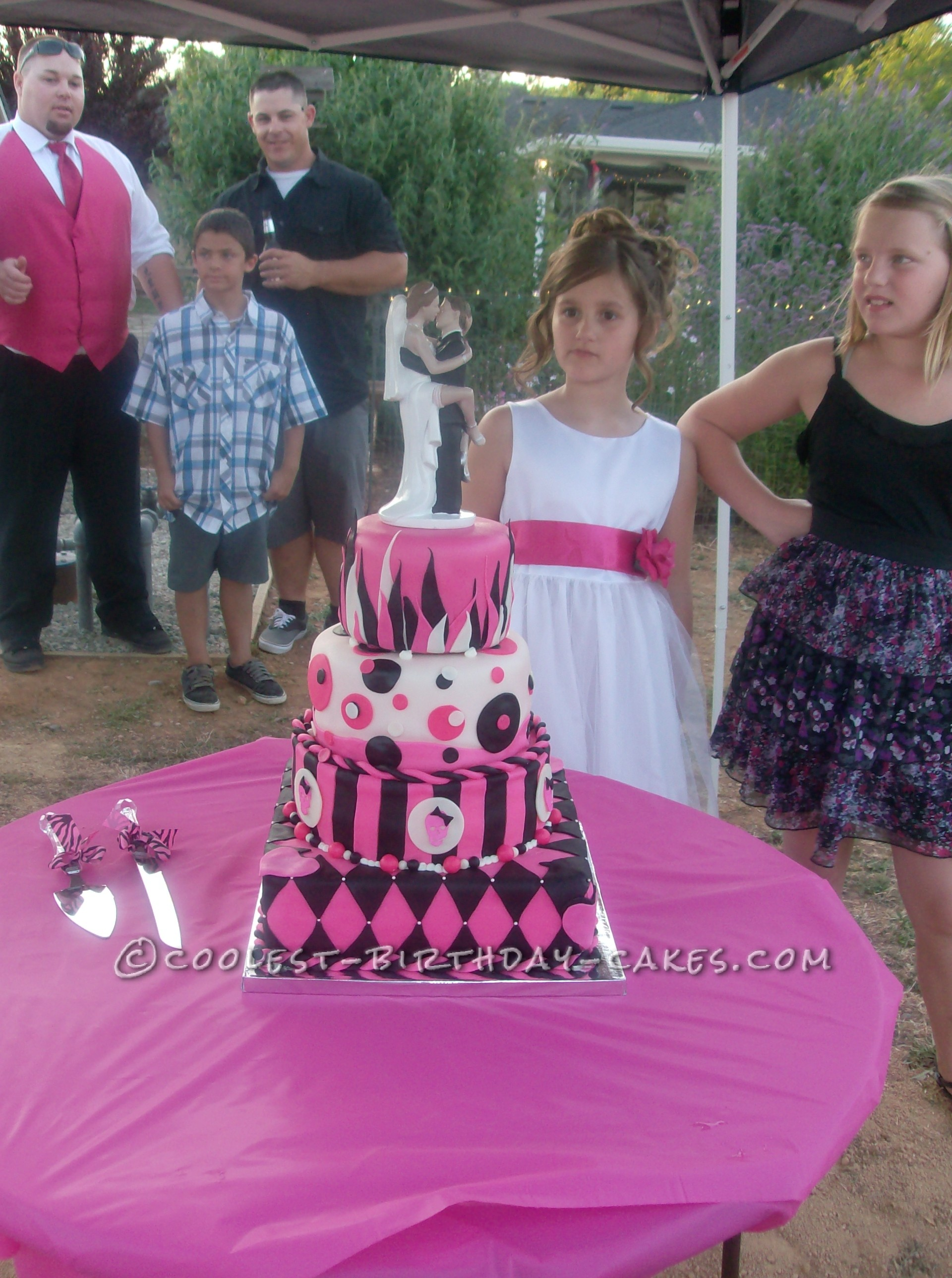 Hot Pink and Black Non-Traditional Wedding Cake