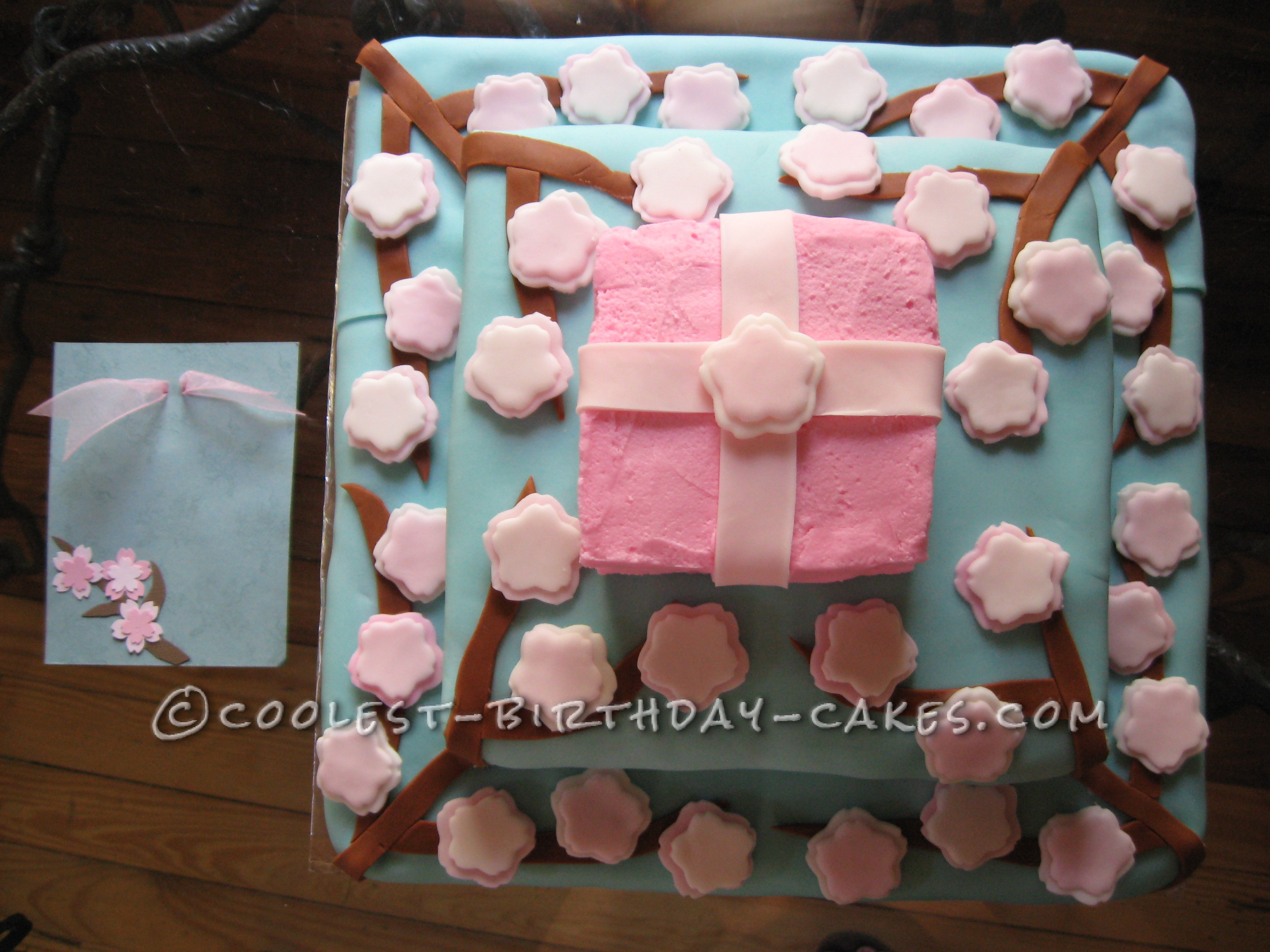 Japanese Cherry Blossom Gift Box Cake