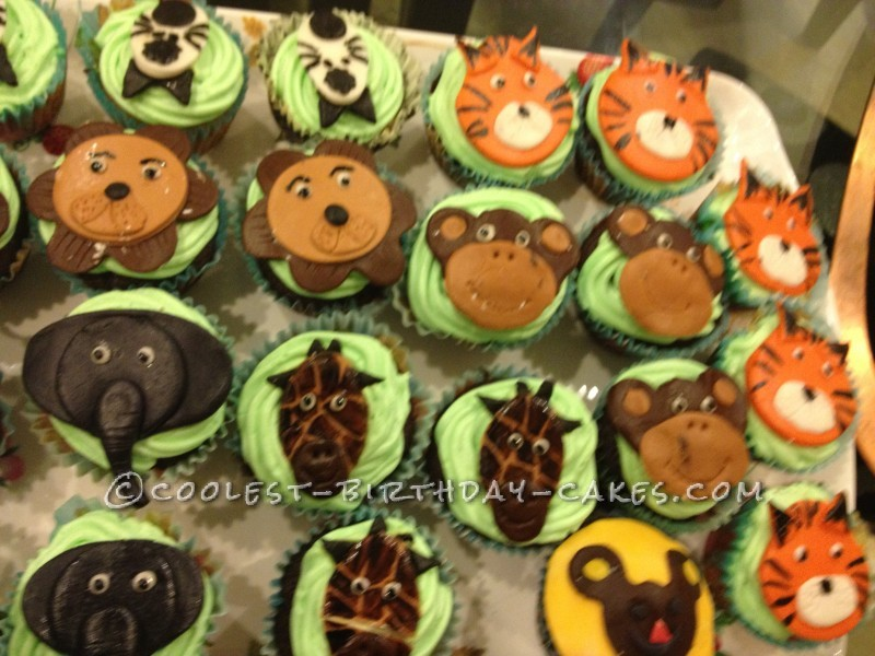 Coolest Jungle Day Birthday Cake and Cupcakes