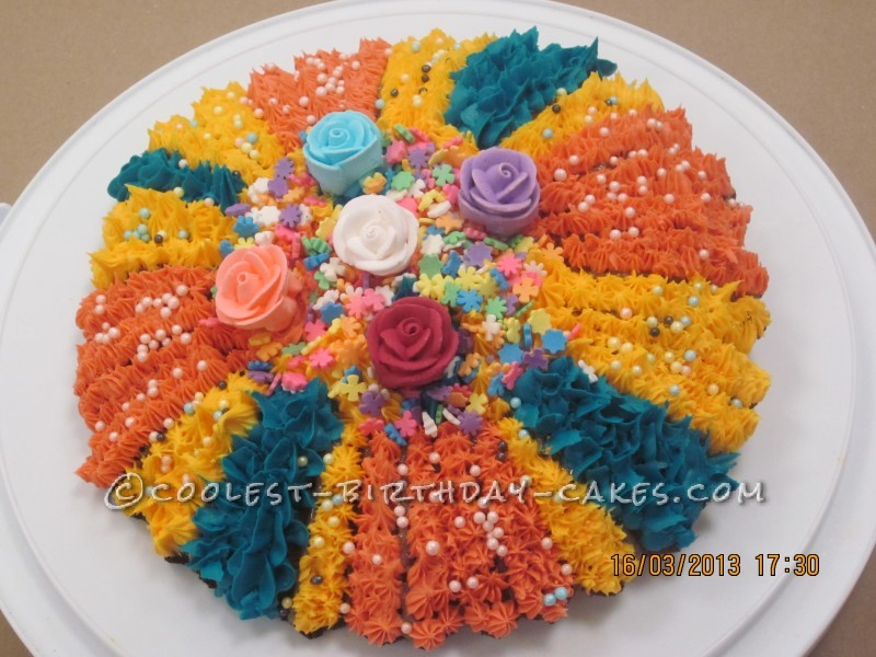 Mardi Gras-Inspired Sunflower Cake