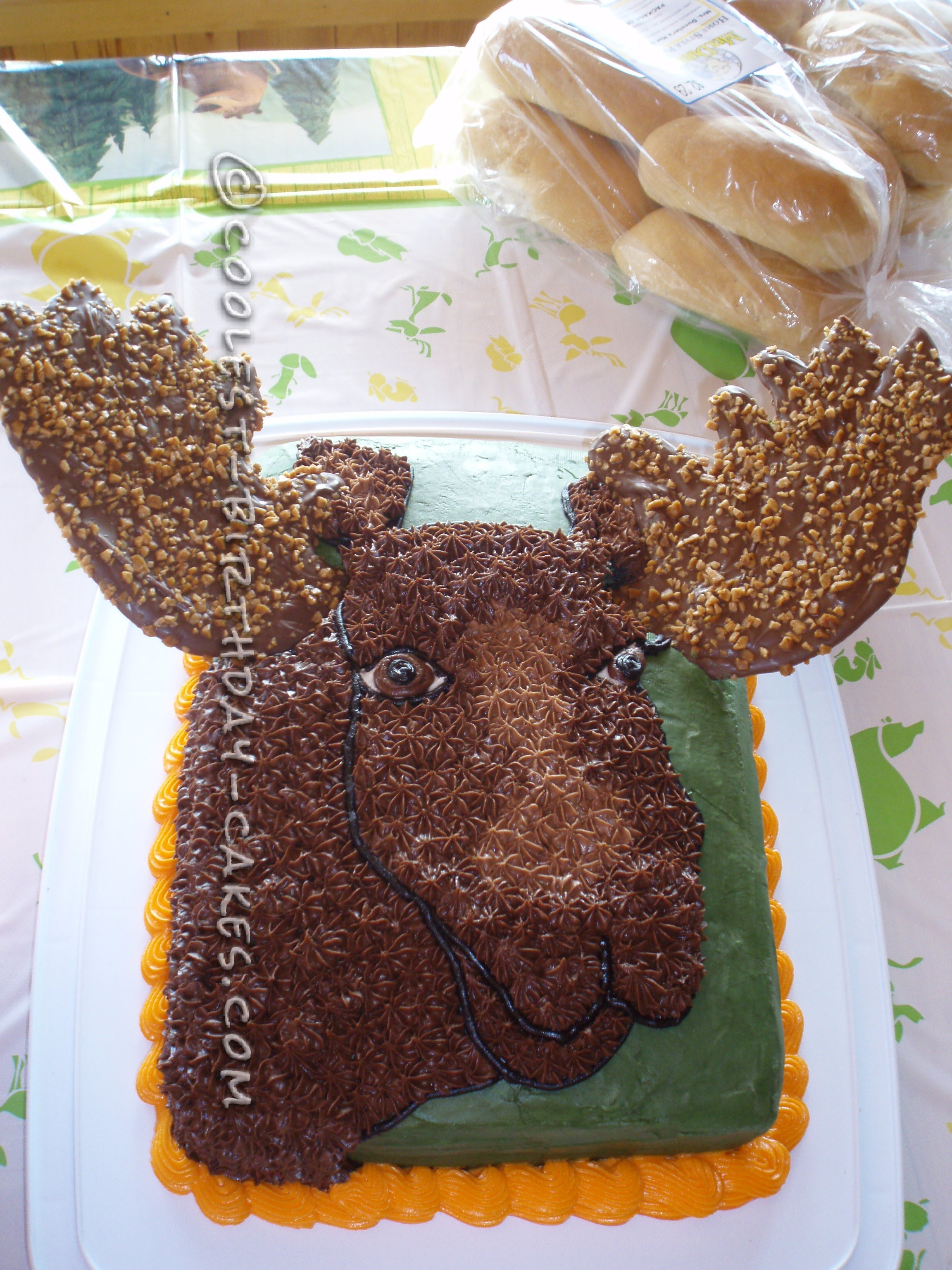 Terrific Moose Cake For The Mighty Hunter Funny Birthday Cards Online Overcheapnameinfo