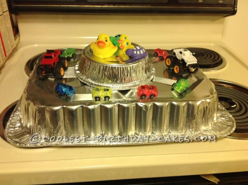 Mud Truck Ducks Cake