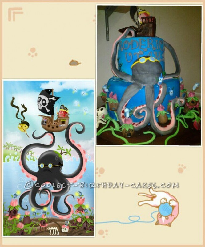 Coolest Octopus and Pirate Birthday Cake