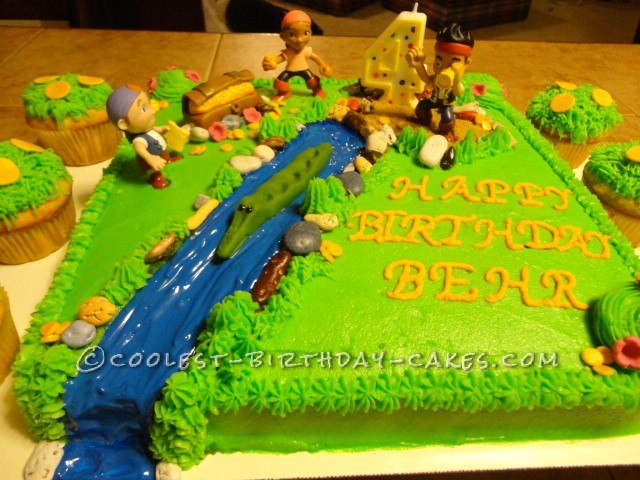Super Jake And The Neverland Pirate Cake For My Sons 4Th Birthday Funny Birthday Cards Online Inifodamsfinfo