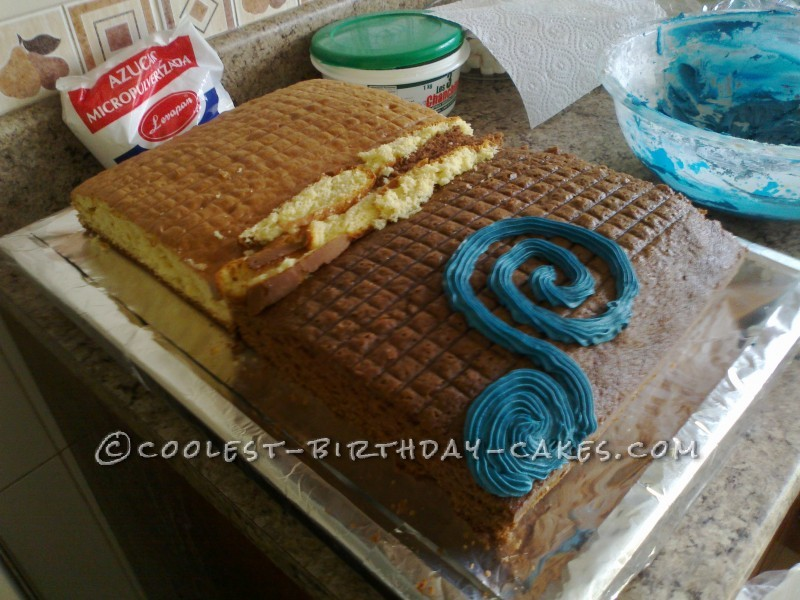 1/2 vanilla, 1/2 chocolate, cut off the edges and place side by side