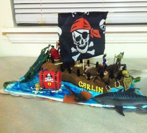 Coolest Pirate Birthday Cake for our 3-Year-Old