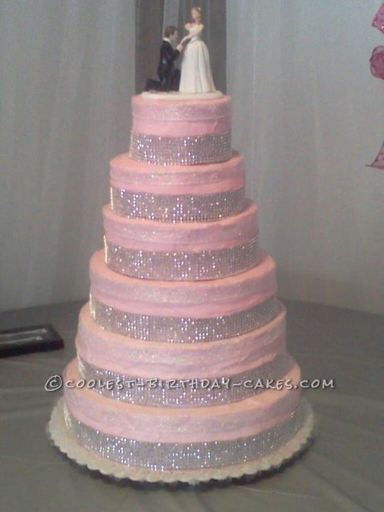 Pretty Pink Homemade Princess Wedding Cake