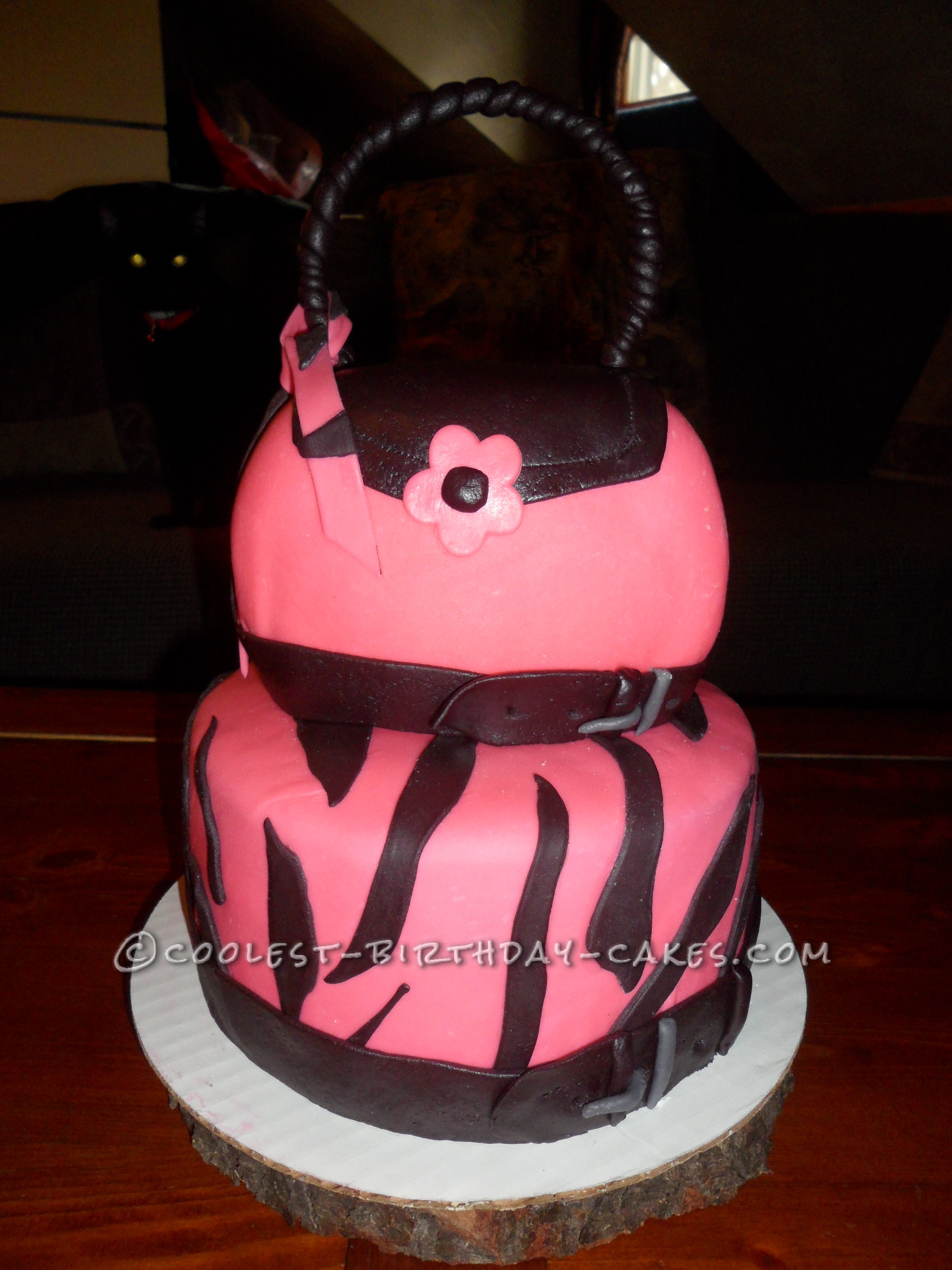 This Is A Stacked Cake Made To Look Like Purse On The Top Bottom Double Layered Covered In Fondant With Zebra Stripes