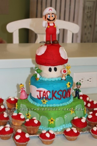 Excellent Superest Super Mario Birthday Cake No Fondant Required Birthday Cards Printable Opercafe Filternl