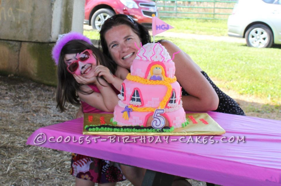 Hayden & Aunt Tisho  with her awesome Rapunzel cake