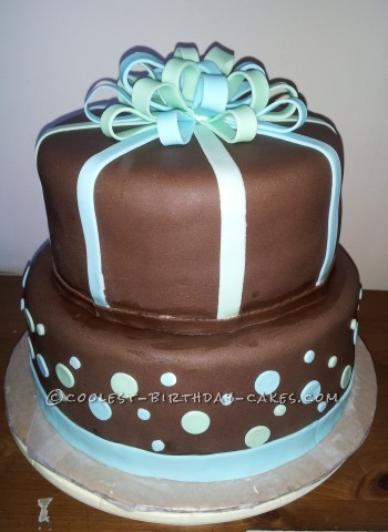 Simple Ribbon Cake for Baby Boy Shower