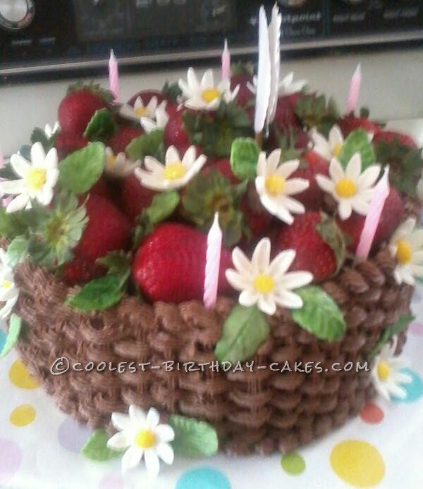 This Basket Birthday Cake With Flowers Is A Red Velvet Chocolate Butter Cream Frosting Done In Weave The Daisies And Leaves Are Made