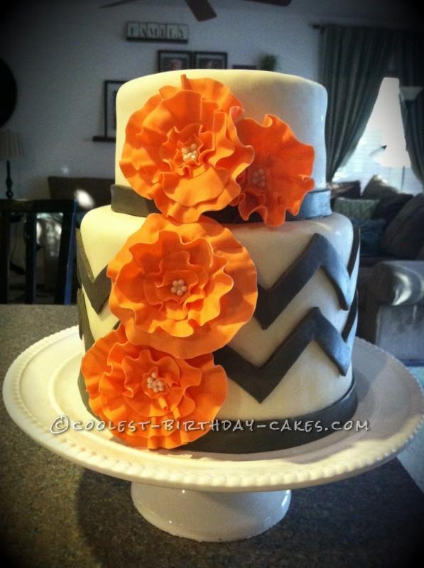 Chevron Modern Bridal Shower Cake