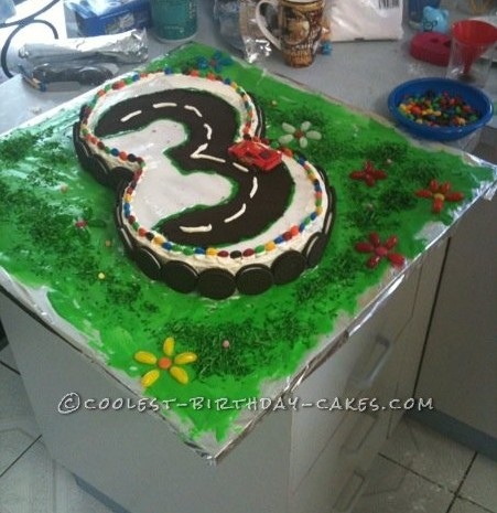 Coolest 3rd Birthday Racetrack Cake