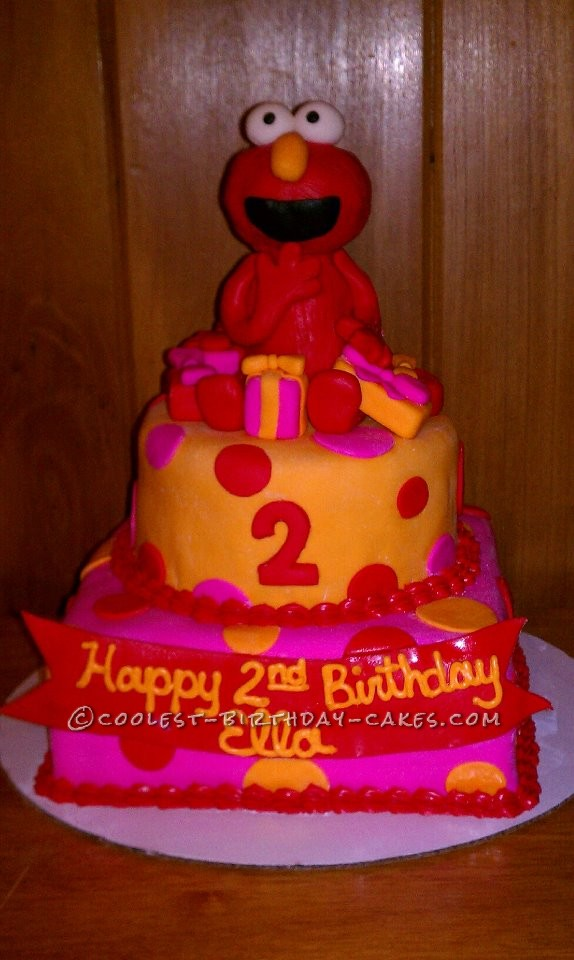 Coolest Homemade 2 Tiered Elmo Birthday Cake For A Two Year Old Girl