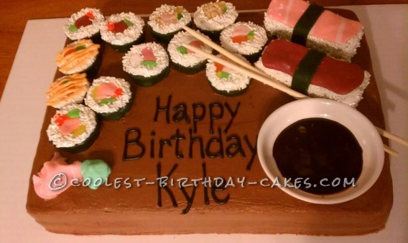 Awesome Coolest Homemade Sushi Cakes Personalised Birthday Cards Veneteletsinfo